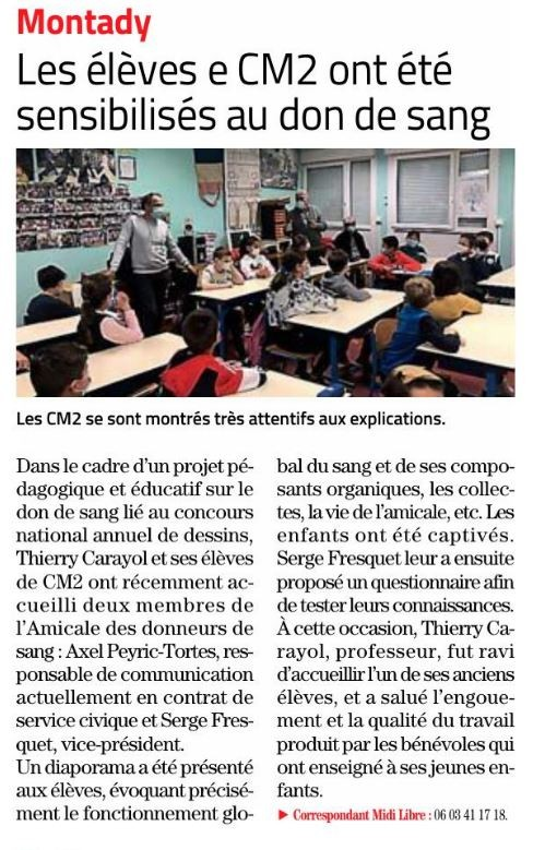 Article ml intervention sang ecole montady 02 04 2021