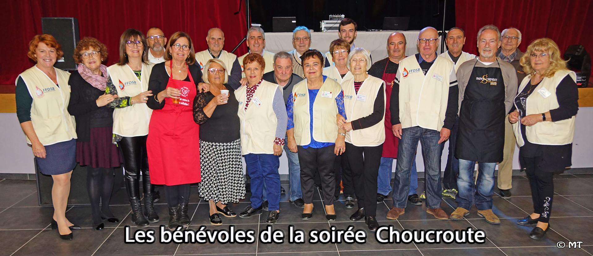 Benevoles donneurs de sang montady alignes pour la soiree choucroute 2019