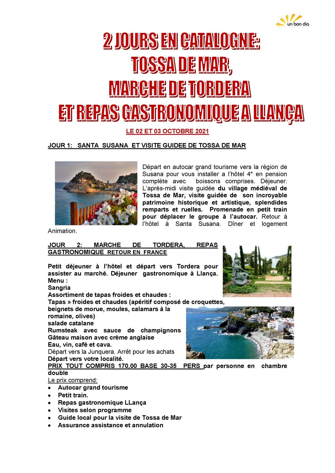 Programme adsbm voyage tossa de mar 2 3 octobre 2021